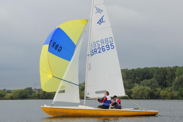 yellow spinnaker in close up